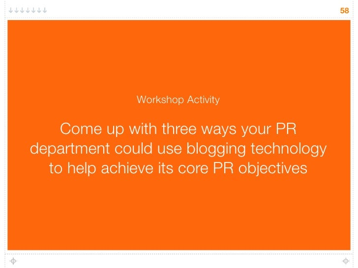 58                   Workshop Activity      Come up with three ways your PR department could use blogging technology   to ...