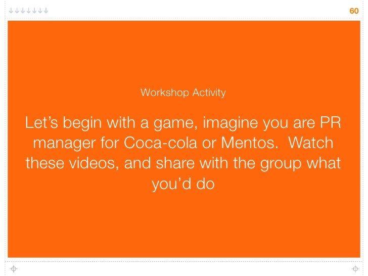 60                    Workshop Activity  Let's begin with a game, imagine you are PR  manager for Coca-cola or Mentos. Wat...