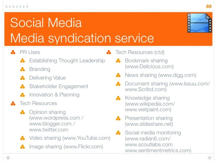 69   Social Media Media syndication service  PR Uses                              Tech Resources (ctd)     Establishing Th...