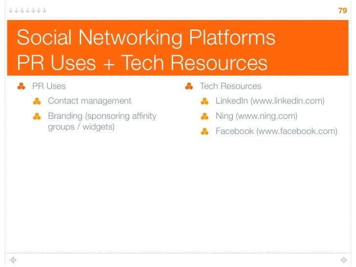 79   Social Networking Platforms PR Uses + Tech Resources  PR Uses                           Tech Resources     Contact ma...