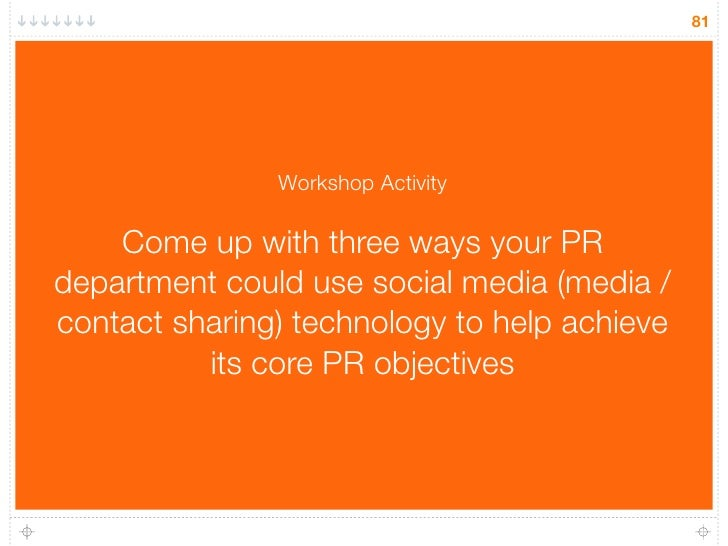 81                    Workshop Activity      Come up with three ways your PR department could use social media (media / co...