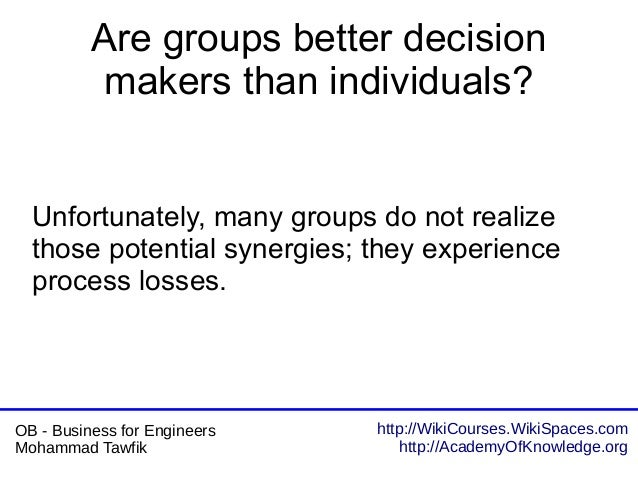 http://WikiCourses.WikiSpaces.com http://AcademyOfKnowledge.org OB - Business for Engineers Mohammad Tawfik Are groups bet...