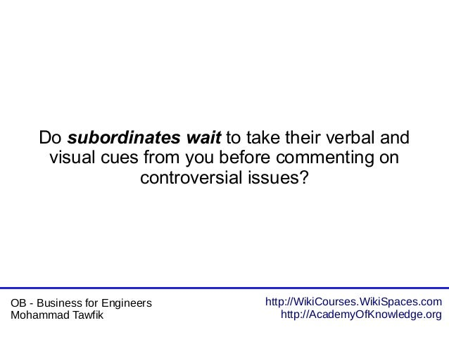 http://WikiCourses.WikiSpaces.com http://AcademyOfKnowledge.org OB - Business for Engineers Mohammad Tawfik Do subordinate...