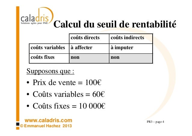 Pr3 Calcul Du Point Mort Ou Seuil De Rentabilite Ou Break Even