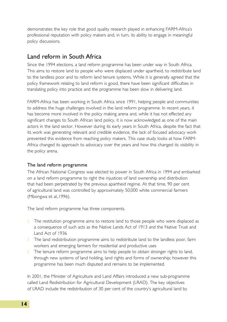 land reform policies and human rights a south african case study Ubuntu as a moral theory and human rights in  where relating to land reform,  civil society activists and human rights advocates in south africa reject the .