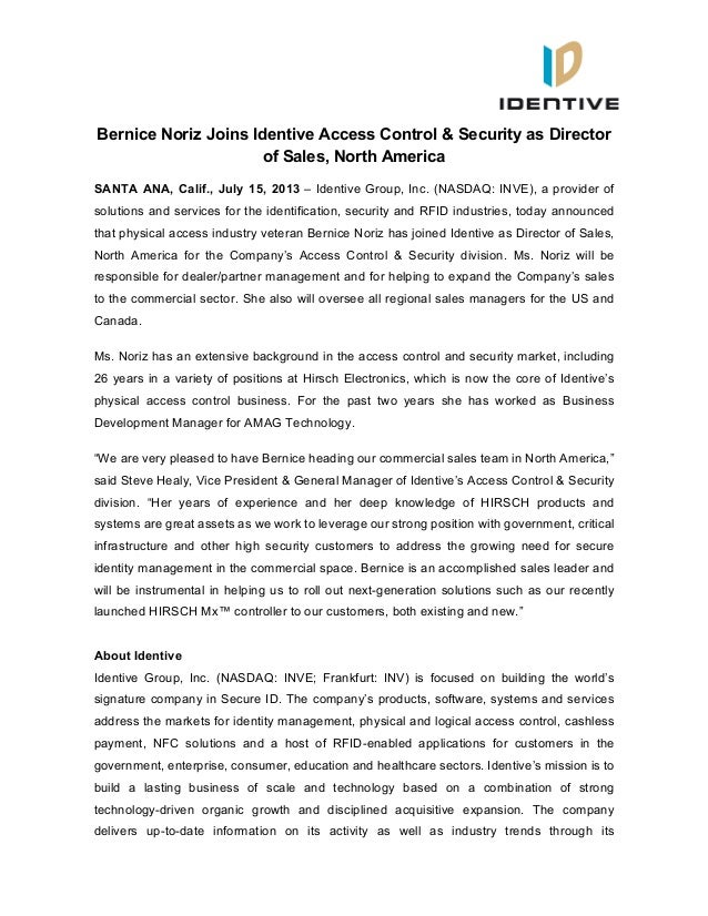 Bernice Noriz Joins Identive Access Control & Security as Director of Sales, North America SANTA ANA, Calif., July 15, 201...