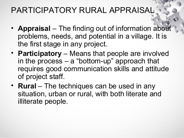 participatory rural appraisal Participatory rural appraisal (pra) methods, now known as participatory learning and action (pla), have been extensively used in development research, action and.