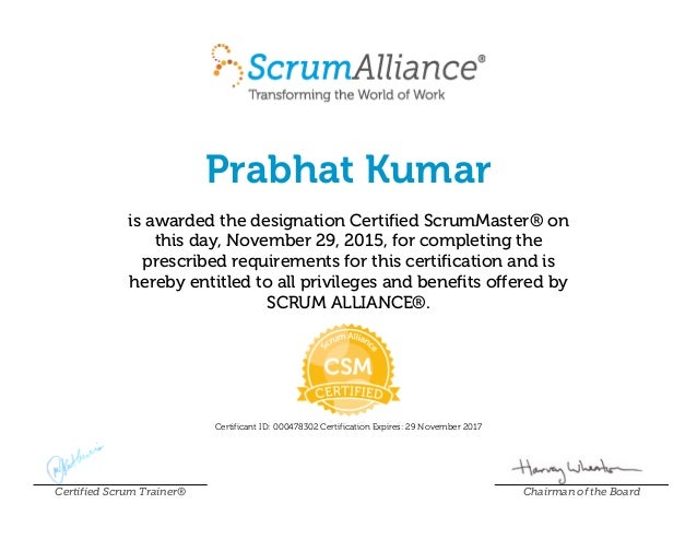 Prabhat Kumar Scrum Alliance Csmcertificate