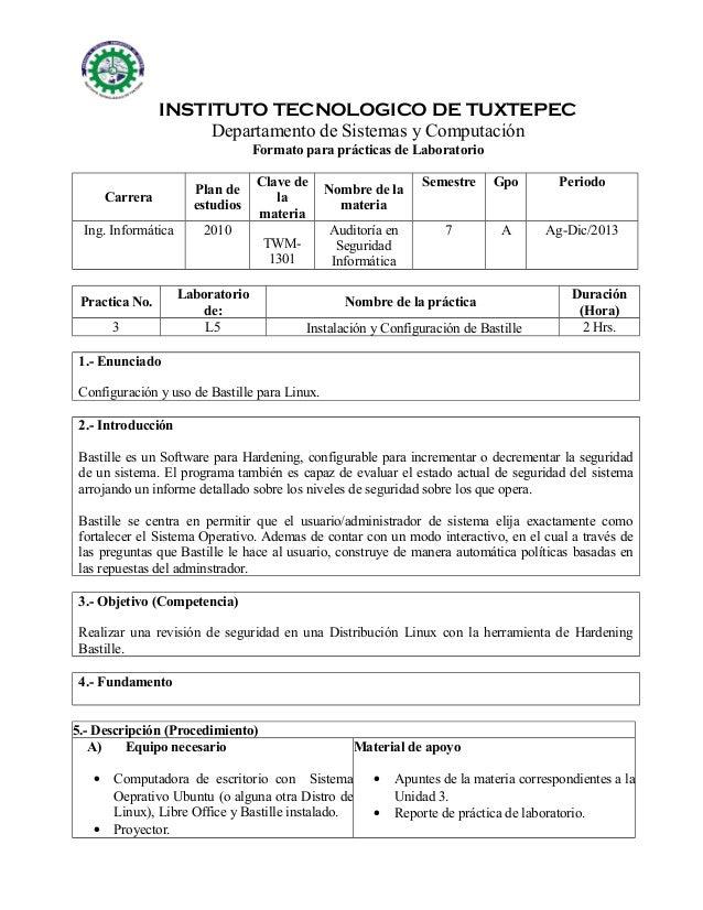 INSTITUTO TECNOLOGICO DE TUXTEPEC Departamento de Sistemas y Computación Formato para prácticas de Laboratorio Carrera  Pl...