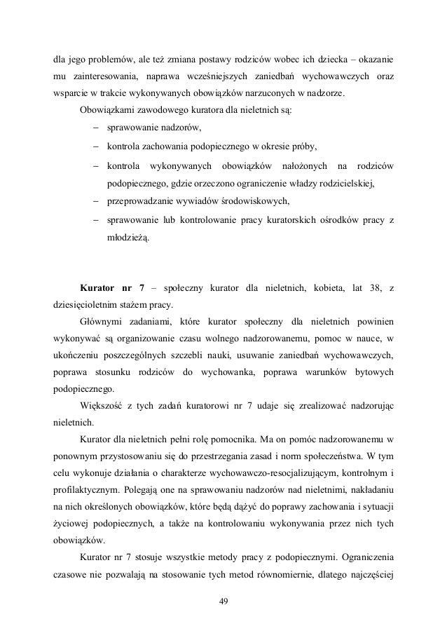 Praca Licencjacka Zadania Kuratora Sądowego Wynikające Z Przepisów а