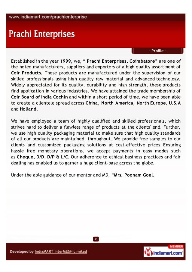 """- Profile -Established in the year 1999, we, """" Prachi Enterprises, Coimbatore"""" are one ofthe noted manufacturers, supplier..."""