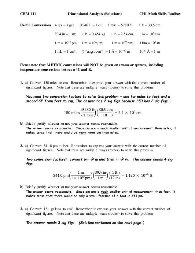 Chemistry unit 1 worksheet 4 dimensional analysis