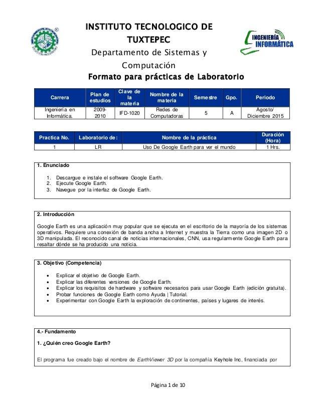 INSTITUTO TECNOLOGICO DE TUXTEPEC Departamento de Sistemas y Computación Formato para prácticas de Laboratorio Página 1 de...