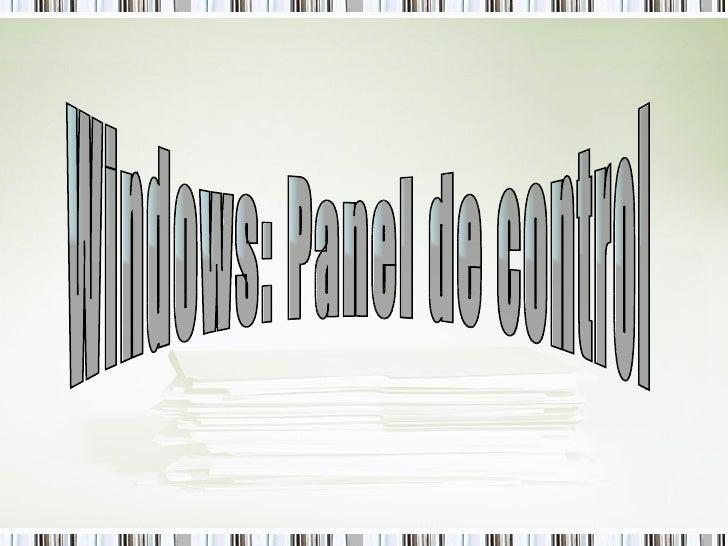 Windows: Panel de control