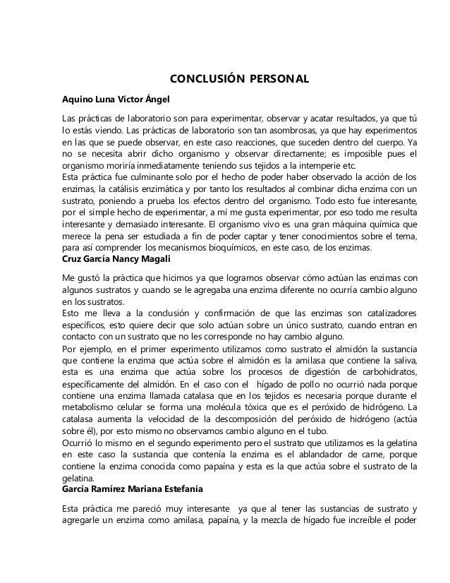 CONCLUSIÓN PERSONAL Aquino Luna Víctor Ángel Las prácticas de laboratorio son para experimentar, observar y acatar resulta...
