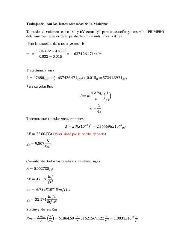"""Trabajando con los Datos obtenidos de la Maizena: Tomando el volumen como """"x"""" y t/V como """"y"""" para la ecuación y= mx + b, P..."""