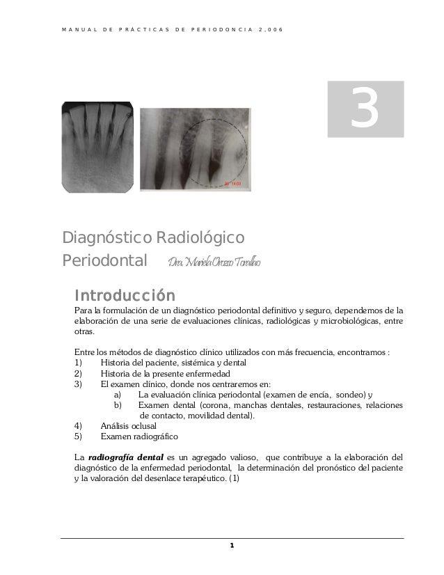 M A N U A L D E P R Á C T I C A S D E P E R I O D O N C I A 2 , 0 0 63Diagnóstico RadiológicoPeriodontal Dra.MarielaOrozco...