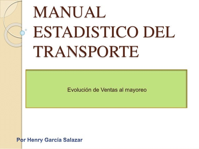 MANUAL  ESTADISTICO DEL  TRANSPORTE