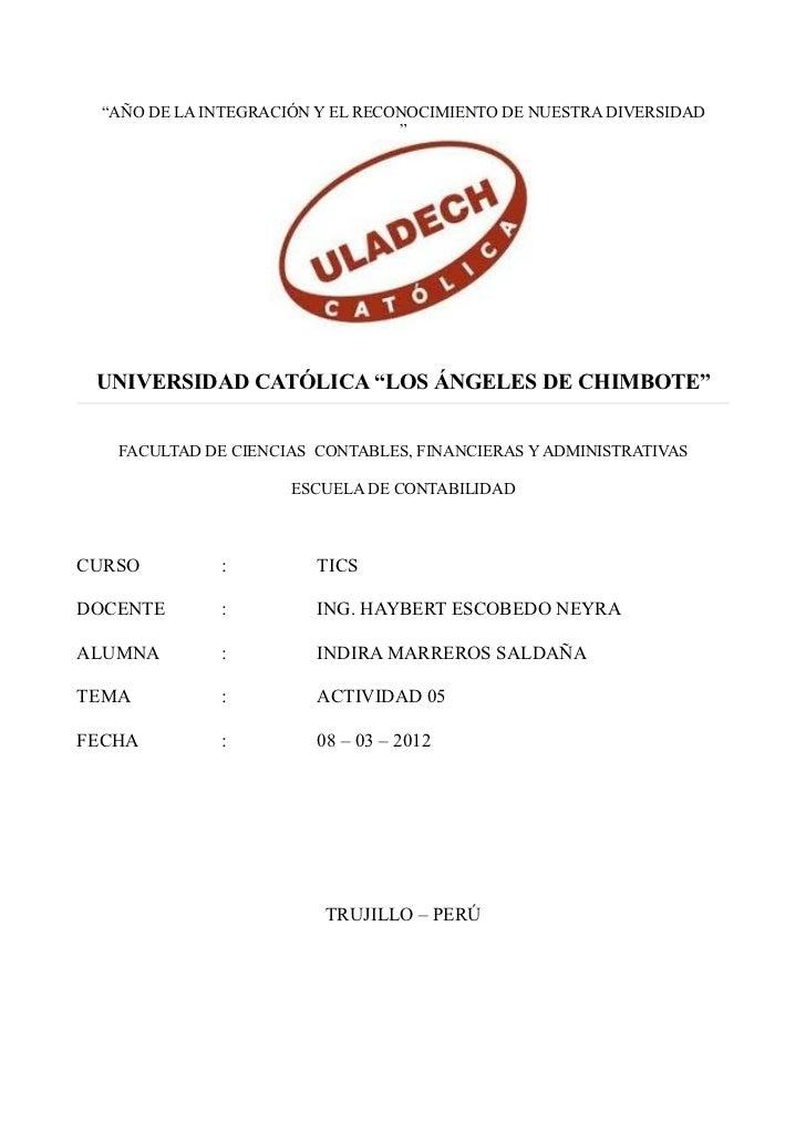 """""""AÑO DE LA INTEGRACIÓN Y EL RECONOCIMIENTO DE NUESTRA DIVERSIDAD                                 """" UNIVERSIDAD CATÓLICA """"L..."""