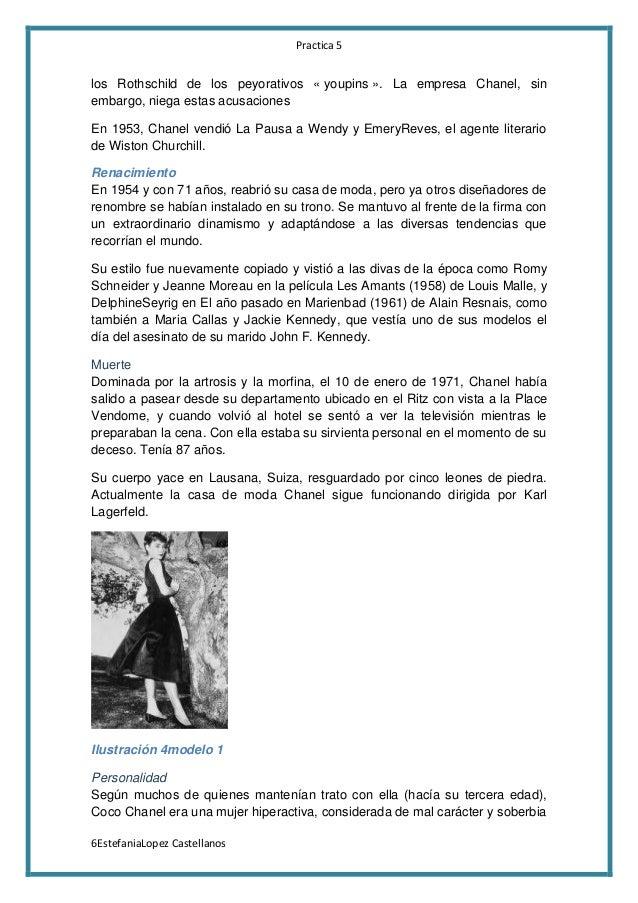Practica 5  los Rothschild de los peyorativos « youpins ». La empresa Chanel, sin embargo, niega estas acusaciones En 1953...