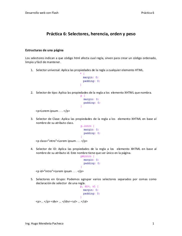 Desarrollo web con Flash                                                             Práctica 6               Práctica 6: ...