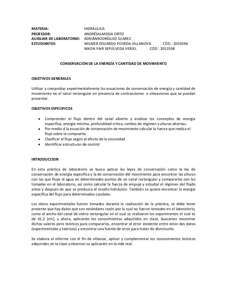 MATERIA:                       HIDRÁULICAPROFESOR:                      ANDRÉSALMEIDA ORTIZAUXILIAR DE LABORATORIO:       ...