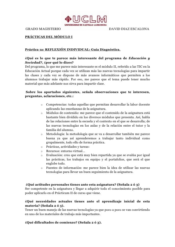 GRADO MAGISTERIO                                            DAVID DIAZ ESCALONAPRÁCTICAS DEL MÓDULO IPráctica 1a: REFLEXIÓ...