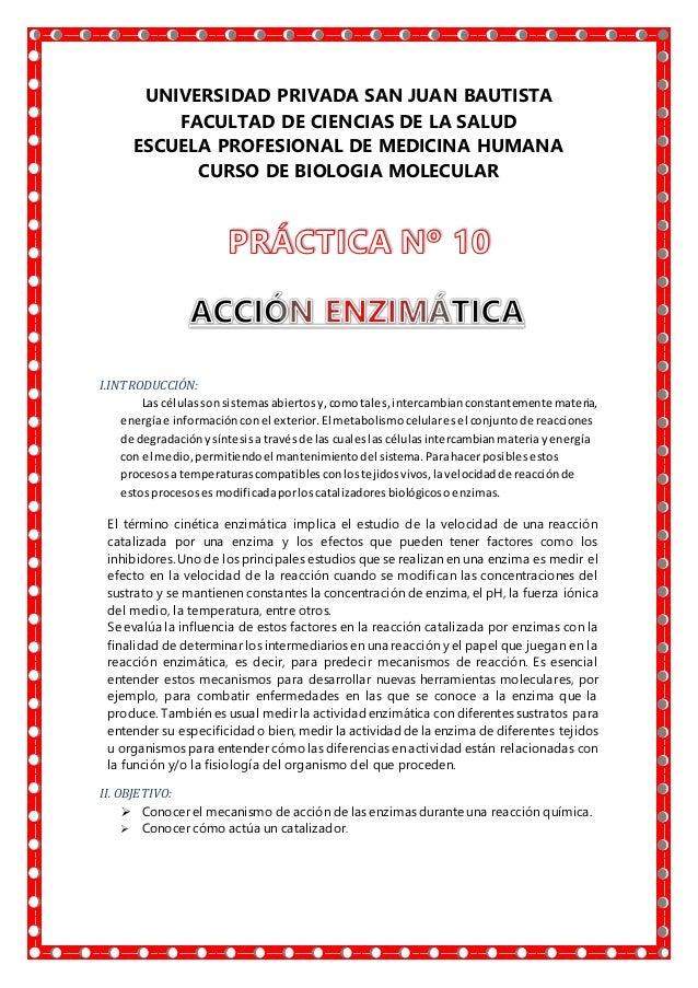 UNIVERSIDAD PRIVADA SAN JUAN BAUTISTA FACULTAD DE CIENCIAS DE LA SALUD ESCUELA PROFESIONAL DE MEDICINA HUMANA CURSO DE BIO...