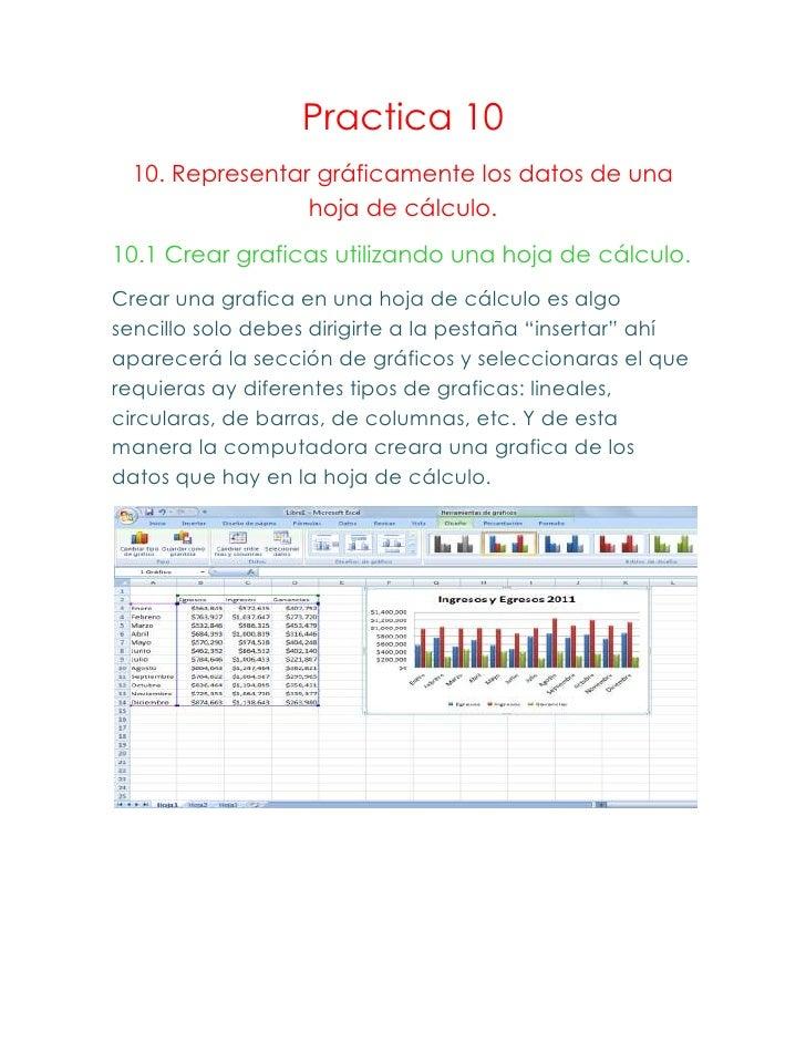Practica 10  10. Representar gráficamente los datos de una                 hoja de cálculo.10.1 Crear graficas utilizando ...
