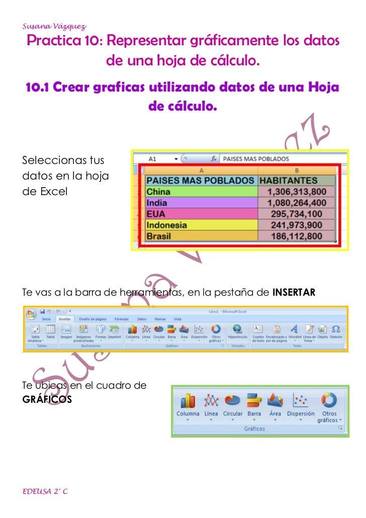 Susana Vázquez Practica 10: Representar gráficamente los datos              de una hoja de cálculo. 10.1 Crear graficas ut...