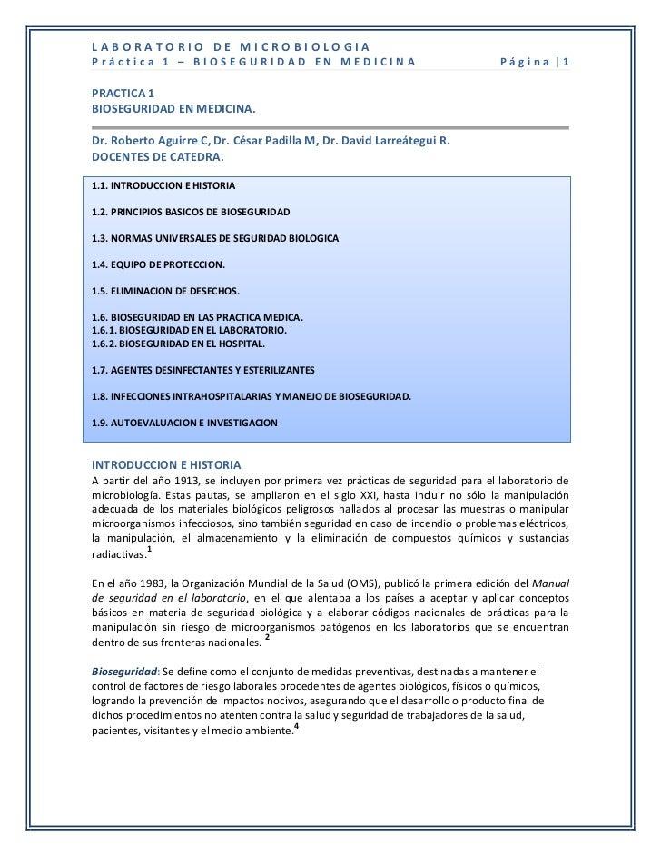 LABORATORIO DE MICROBIOLOGIAPráctica 1 – BIOSEGURIDAD EN MEDICINA                                               Página |1P...
