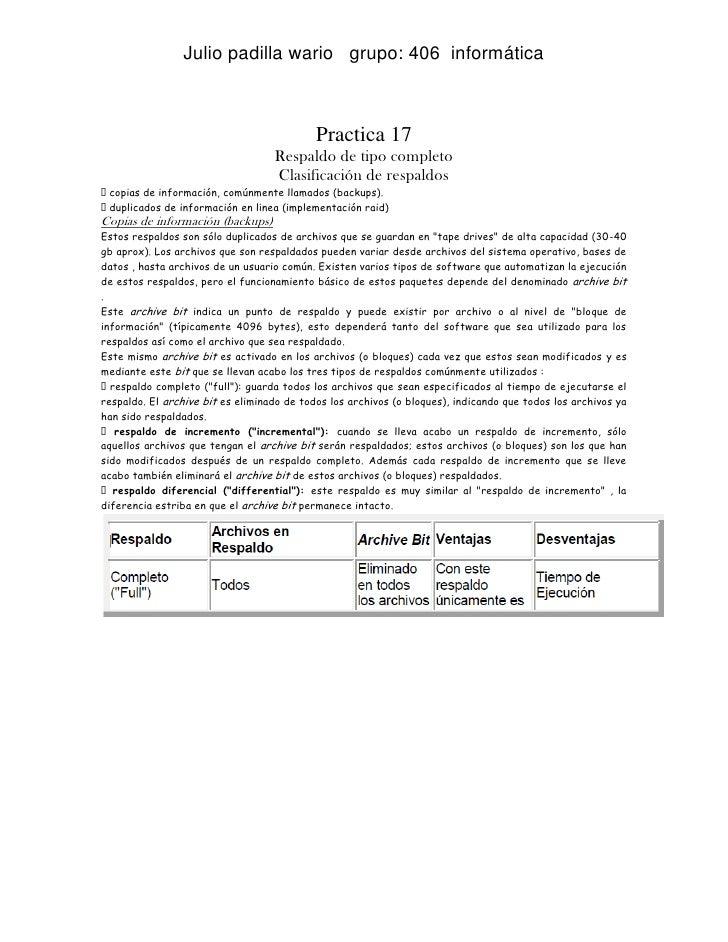 Julio padilla wario grupo: 406 informática                                            Practica 17                         ...