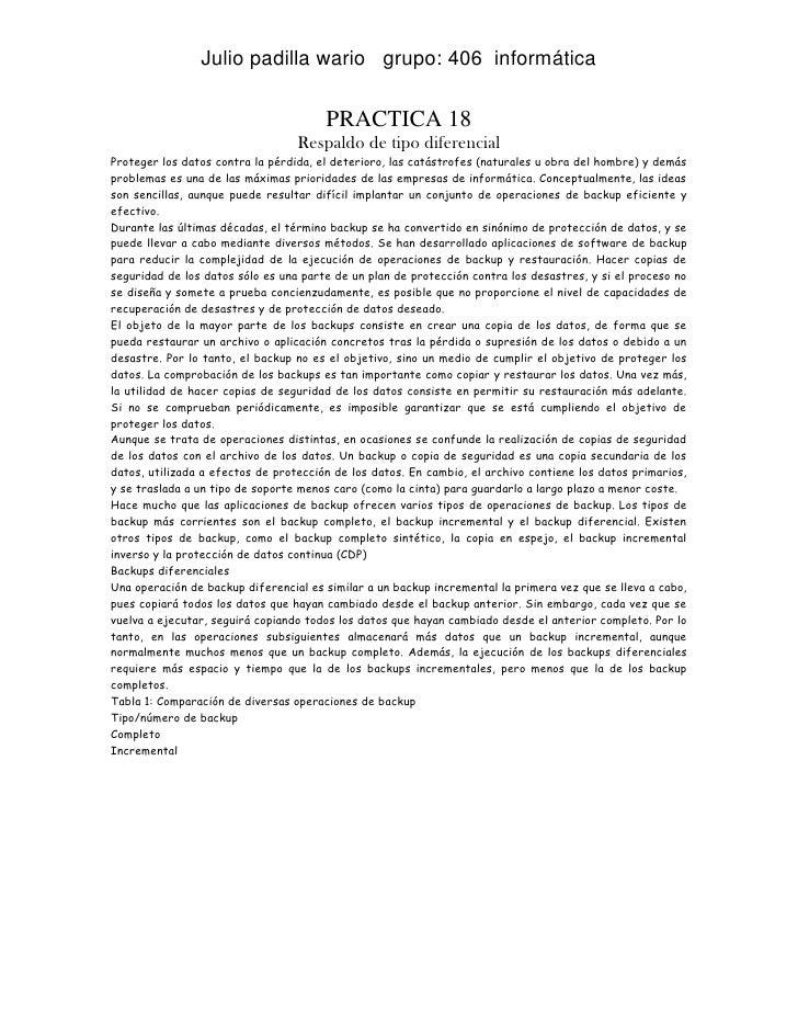 Julio padilla wario grupo: 406 informática                                       PRACTICA 18                              ...