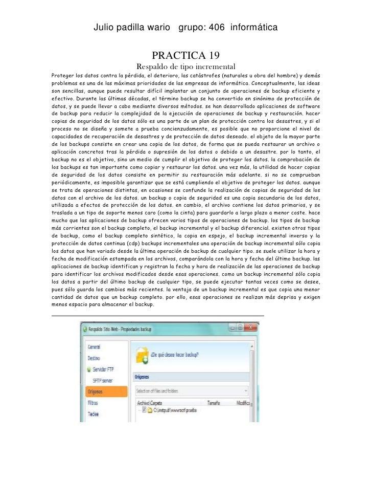 Julio padilla wario grupo: 406 informática                                        PRACTICA 19                             ...