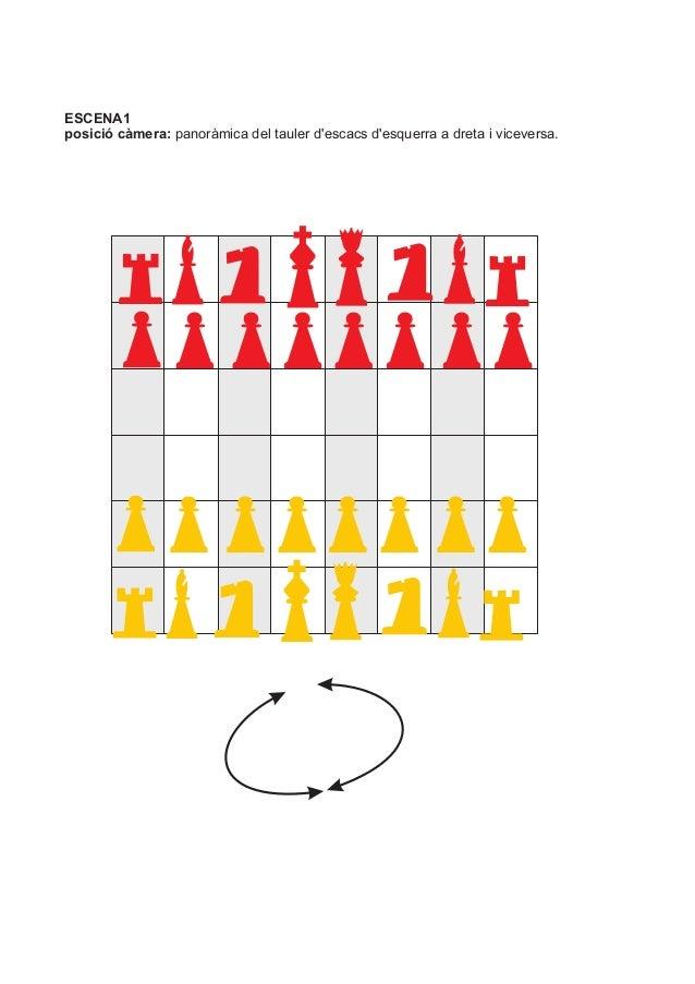 ESCENA1 posició càmera: panoràmica del tauler d'escacs d'esquerra a dreta i viceversa.