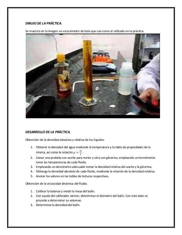 Practica1 fluidos viscosidad dinamica for Viscosidad del aceite de motor