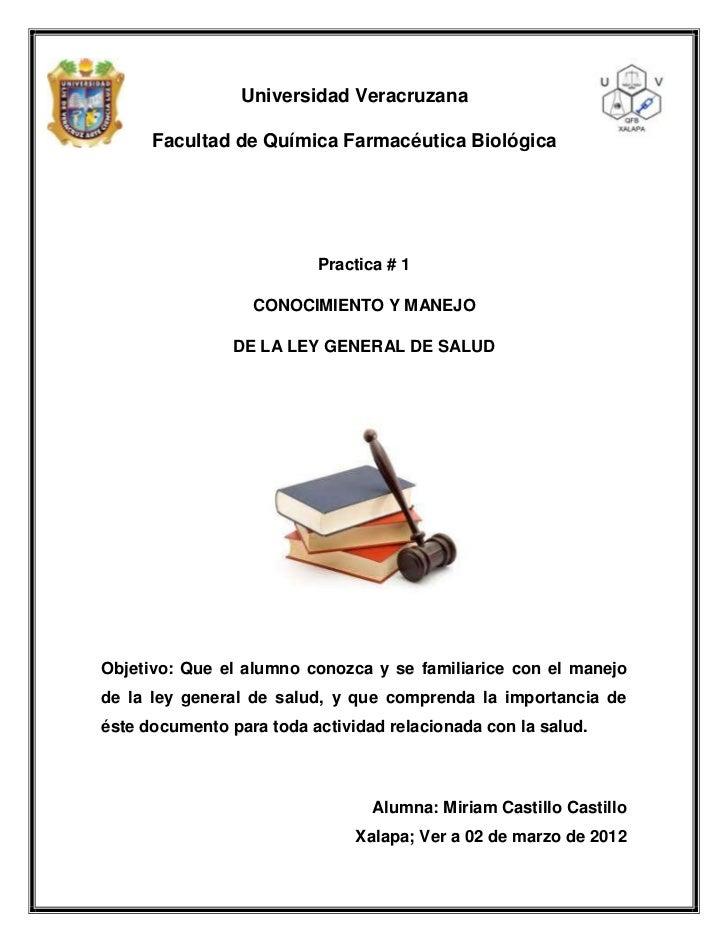 Universidad Veracruzana      Facultad de Química Farmacéutica Biológica                          Practica # 1             ...