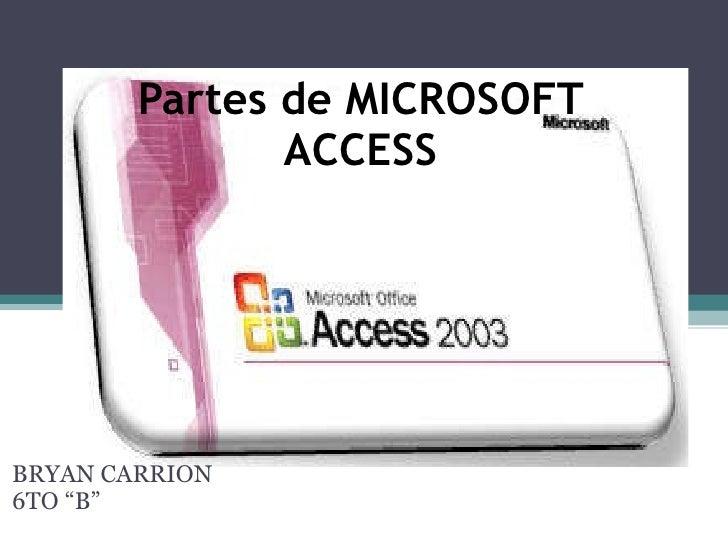 """Partes de MICROSOFT ACCESS BRYAN CARRION 6TO """"B"""""""