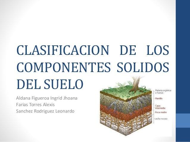 Practica 2 clasificacion de los componentes solidos del suelo for Componentes quimicos del suelo