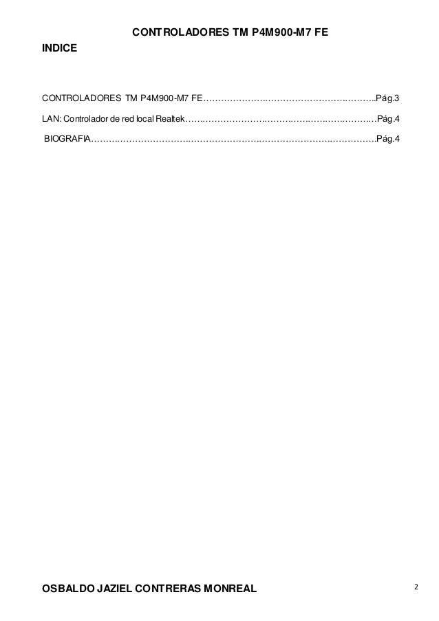 CONTROLADORES TM P4M900-M7 FE OSBALDO JAZIEL CONTRERAS MONREAL 2 INDICE CONTROLADORES TM P4M900-M7 FE………………………………………………….....