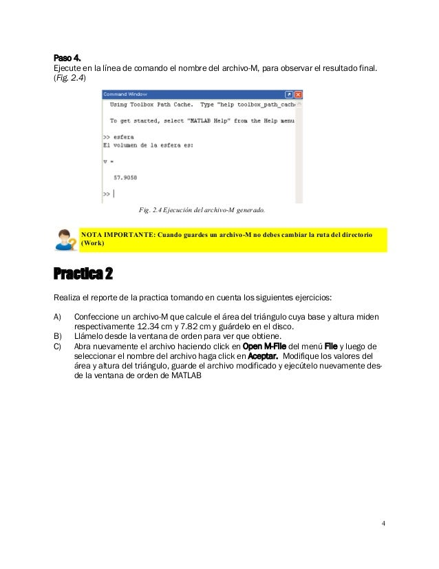 4 Paso 4. Ejecute en la línea de comando el nombre del archivo-M, para observar el resultado final. (Fig. 2.4) Practica 2 ...