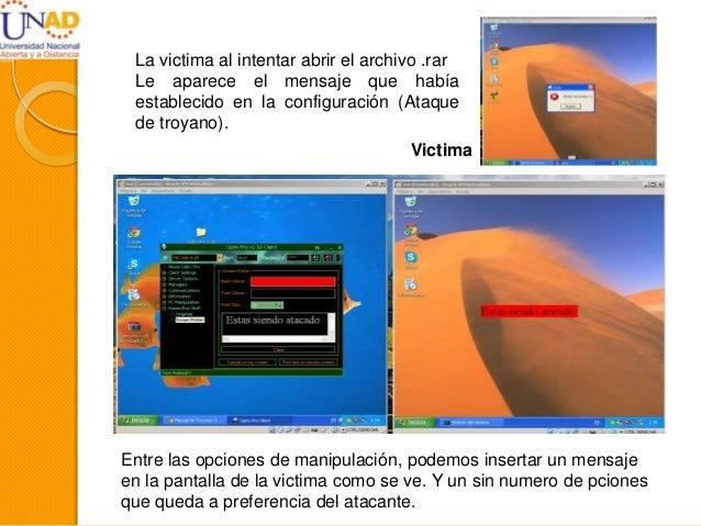 La victima al intentar abrir el archivo .rar Le aparece el mensaje que había establecido en la configuración (Ataque de tr...