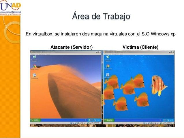 Área de Trabajo En virtualbox, se instalaron dos maquina virtuales con el S.O Windows xp Atacante (Servidor) Victima (Clie...