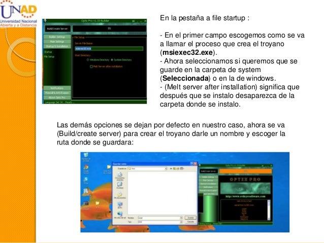 En la pestaña a file startup : - En el primer campo escogemos como se va a llamar el proceso que crea el troyano (msiexec3...