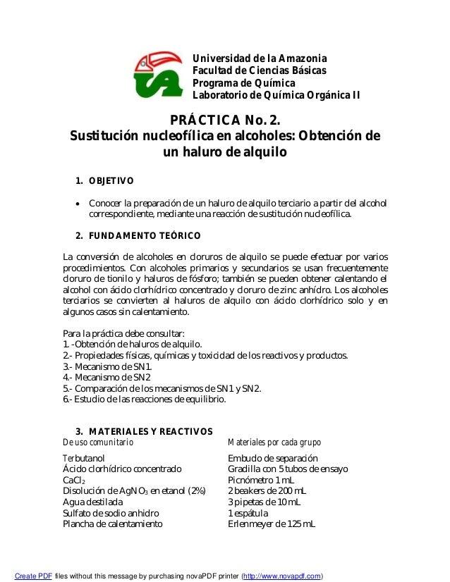 Universidad de la Amazonia Facultad de Ciencias Básicas Programa de Química Laboratorio de Química Orgánica II PRÁCTICA No...