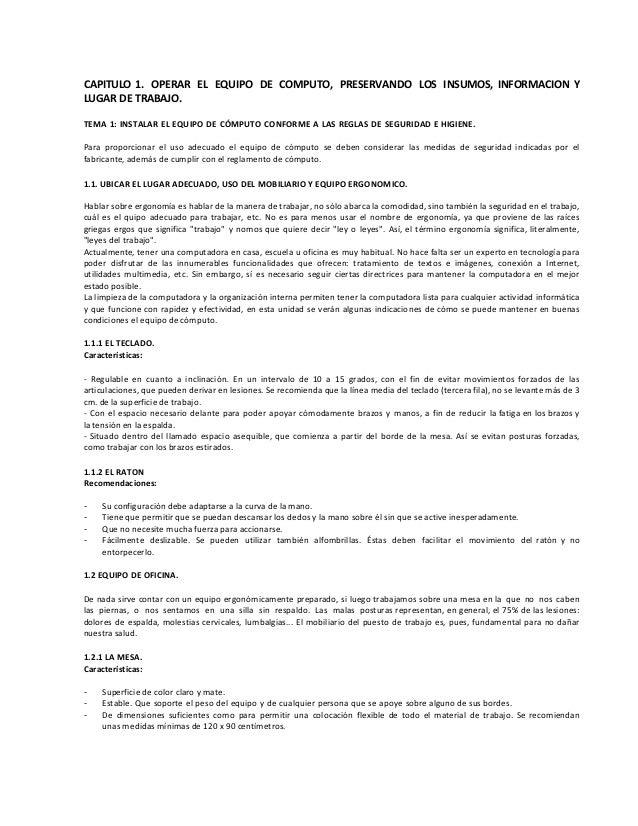 CAPITULO 1. OPERAR EL EQUIPO DE COMPUTO, PRESERVANDO LOS INSUMOS, INFORMACION Y LUGAR DE TRABAJO. TEMA 1: INSTALAR EL EQUI...