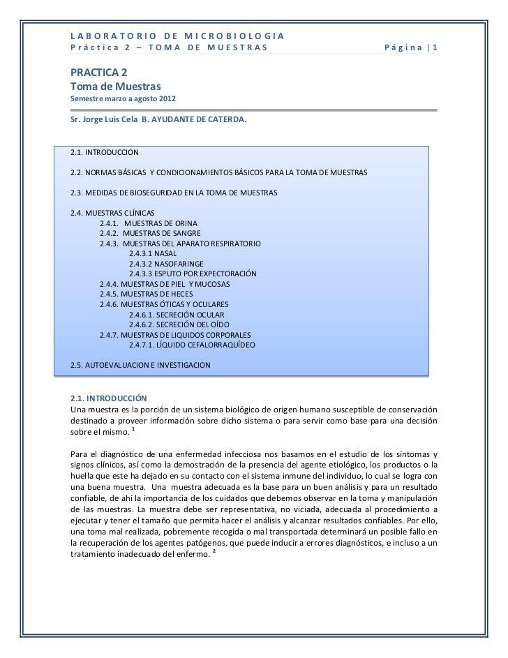 LABORATORIO DE MICROBIOLOGIAPráctica 2 – TOMA DE MUESTRAS                                                        Página |1...