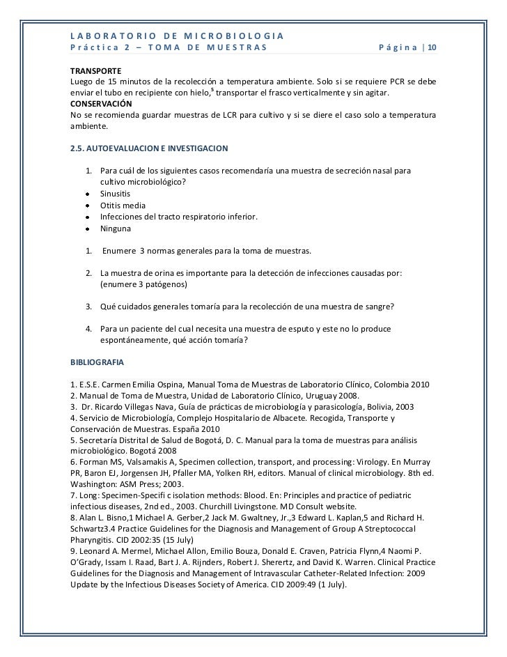 LABORATORIO DE MICROBIOLOGIAPráctica 2 – TOMA DE MUESTRAS                                                         P á g i ...