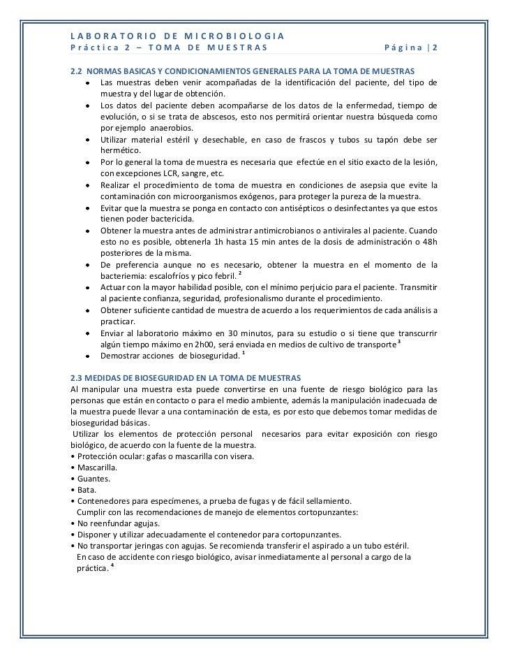 LABORATORIO DE MICROBIOLOGIAPráctica 2 – TOMA DE MUESTRAS                                                     Página |22.2...