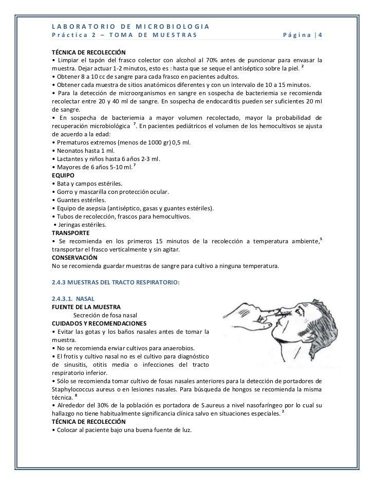 LABORATORIO DE MICROBIOLOGIAPráctica 2 – TOMA DE MUESTRAS                                                     Página |4TÉC...
